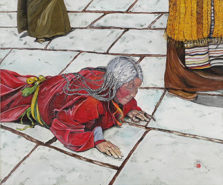 THE PRAYER 73cm x 60,50 cm Acrylic on canvas A Tibetan woman on the way to the temple praying  in the traditional way; her smile, her hair, the position of her hands, everything about her reminds us how strong life is, how beautiful it is to live without fear of death. Look at the strength of her prayer, fighting against the odds, the negativity of life… and winning! This is what is in her face: victory!