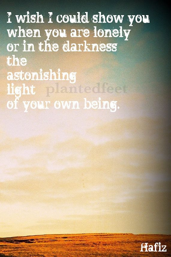 Photo art greeting card  Hafiz quote '...the light by plantedfeet, $3.49