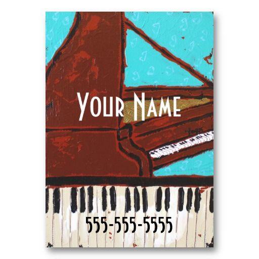 かわいいピアノの絵柄の名刺。#zazzle #ピアノ #名刺