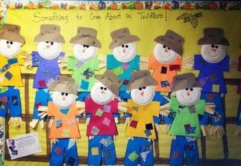 """""""Something to Crow About in ____ (teacher's name) Class!"""" and large student scarecrow projects are great ideas for a Fall bulletin board display."""