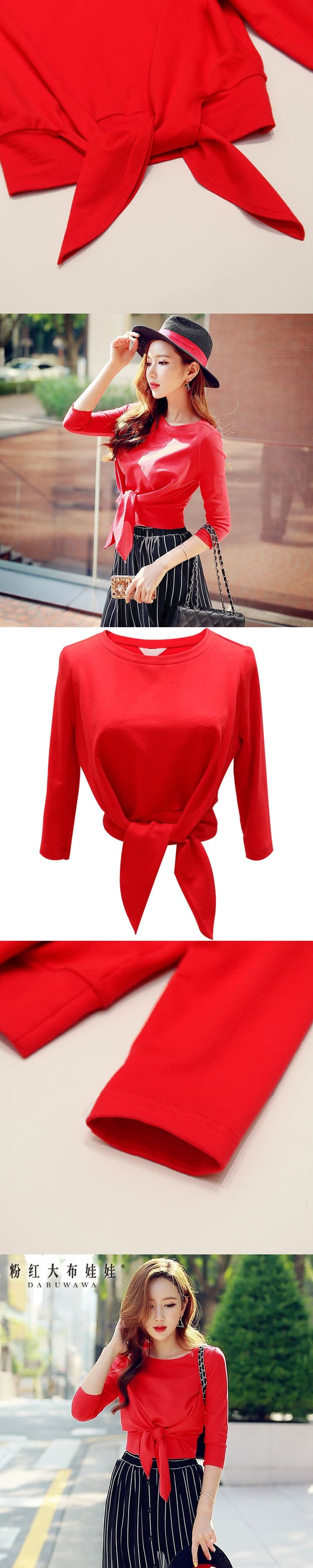 t-shirt autumn 2017 high quality cotton new fashion round neck casual three quarter sleeved solid red short top women