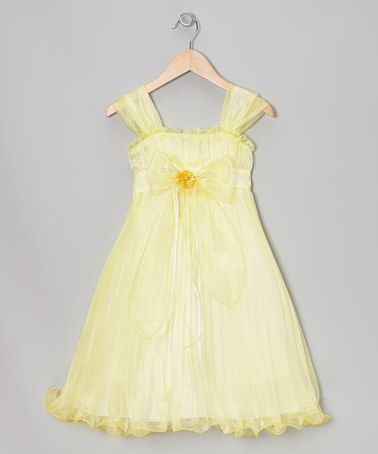 Yellow Bow Pleated Babydoll Dress - Toddler & Girls #zulily #zulilyfinds
