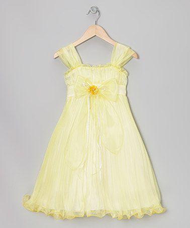 Yellow Bow Pleated Babydoll Dress - Toddler & Girls #zulily #zulilyfinds