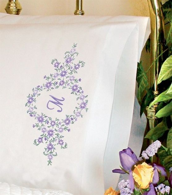 Dimensions Pillowcase Stamped Cross Stitch Daisy Monogram