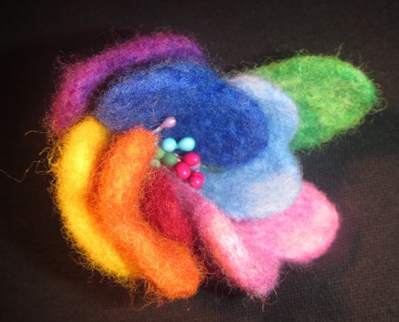 Woolen flower brooch Flower  seven colors