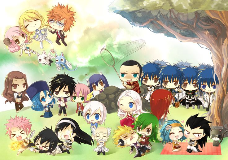 Fairy Tail chibis! I love how Lucy's just hanging out in the sky why her celestial spirits... and there's like ten Jellals.