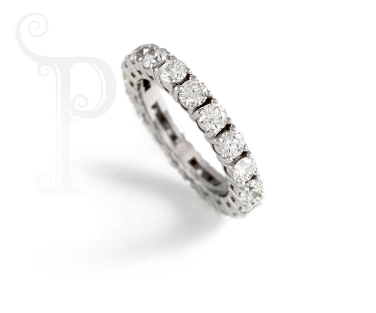 Handmade 18ct White Gold Full Eternity Band, Claw Set With Round Brilliant Cut Diamonds