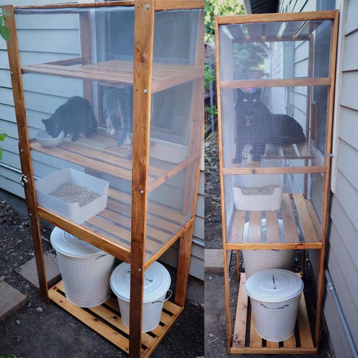 DIY outdoor cat litter box/ catio made using an IKEA Hejne shelf, Plugis litter box, Knodd litter/ supply storage and various hardware supplies. IKEA hack for cat people who can't stand indoor litter boxes. #catsdiylitterbox