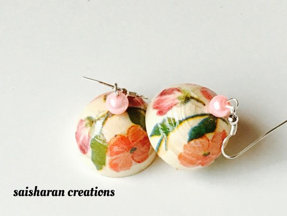 Quilled Decoupage jhumkas by papersandpassions on Etsy