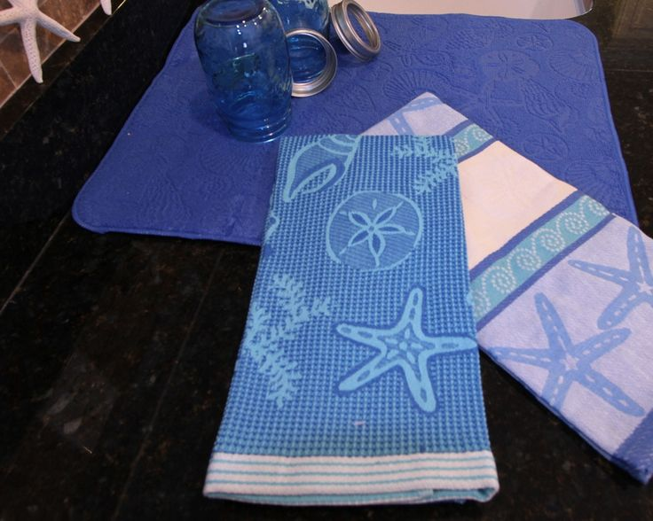 Woven jacquard kitchen towel in blues and teal,shells! – Beach House Linens