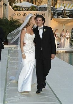 Vanessa Haydon and Donald Trump, Jr pose after their wedding at the Mar-a-Lago Club November 12, 2005 in Palm Beach, Florida.