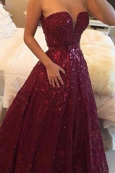 High Quality Prom Dress Charming EVENING Dress Noble PARTY Dress Beading Prom Dress Strapless Prom Dress