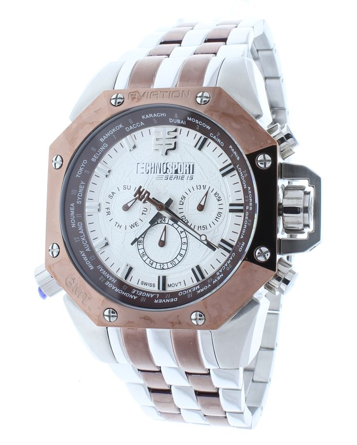 Technosport TS-100-12AV Men's World Timer GMT Brown/Silver Stainless Steel Watch