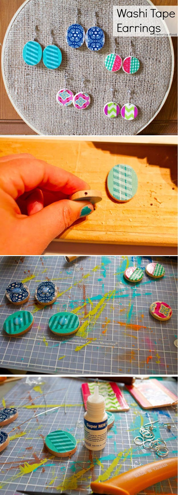 Cheap and Creative DIY Jewelry with Washi Tape | https://diyprojects.com/100-creative-ways-to-use-washi-tape/