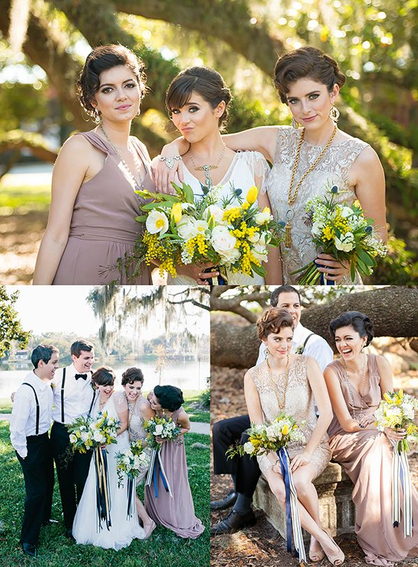 Great Gatsby Themed Weddings With Bridesmaids In Neutral And Metallic Bridesmaid Dresses Explore Hundreds Of