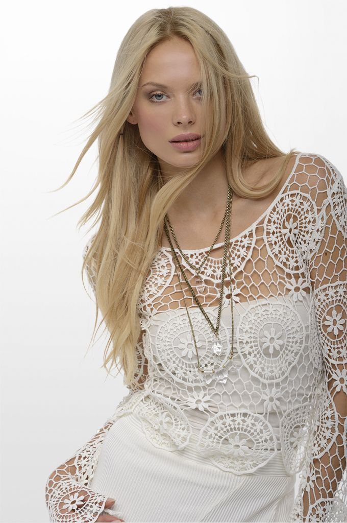 Sarah Lawrence - lace top, asymmetrical midi skirt, necklace.