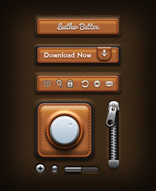 "Freeebie: Leather UI Elements PSD by Rafi   ***   ""Friends, today's design download is an amazing kit of user interface elements with leather texture. In this freebie, there are three buttons, one app icon, zip chain, and some UI elements that you can freely use for your web or mobile designs and apps. Very good for creative designs!"""