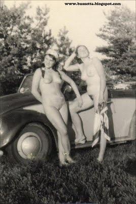 Vintage VW Beetle nudist girls!!!  Nice pic...