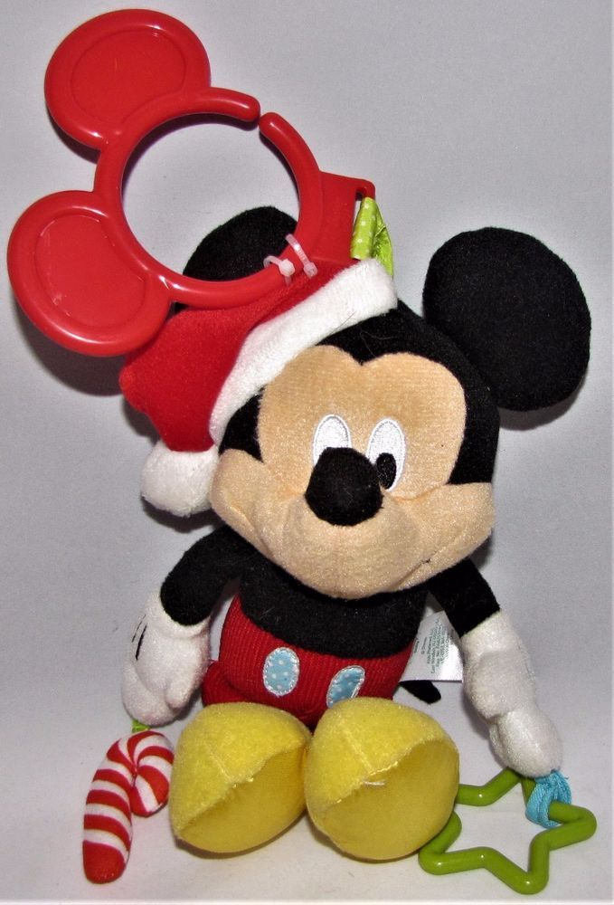 Disney Baby Christmas Mickey Mouse Stroller Crib Activity Toy Santa Hat Rattle #Disney