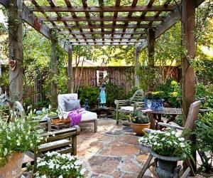 """A little structure makes a patio feel like an outdoor room. Consider a paved or loose-stone floor, and use the house or a fence for a sidewall or two and a pergola or tree boughs for a """"roof."""" A pergola offers sun protection without blocking breezes, while its open sides frame the view and establish a sense of enclosure. This pergola was custom-made, but DIYers can build one from a kit. by fitgirl12"""