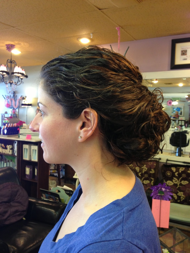 Curly hair updo for wedding