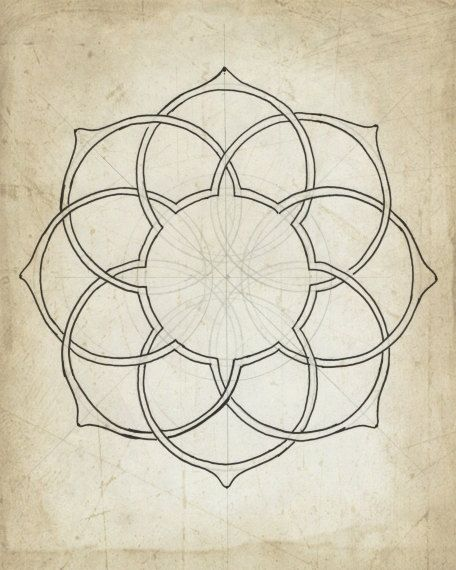 Geometric art illustration giclee art archival print beige tan wall art 8x10 11x14 'Geometry Sketch Eleven'