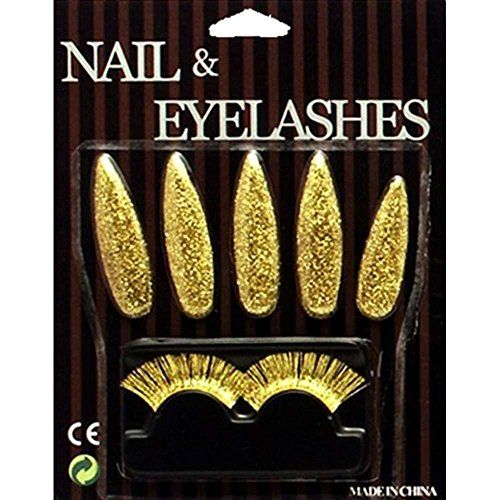 Gold Glitter Nails & Eyelashes