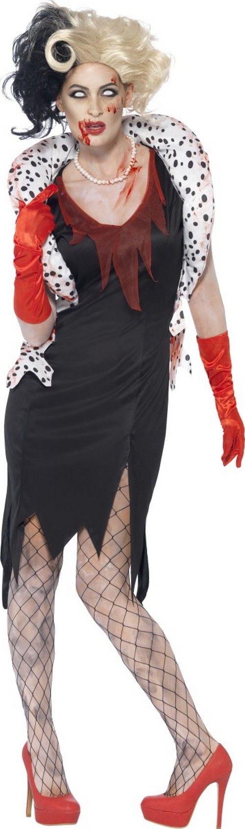 Déguisement zombie dame cruelle femme Halloween : Ce déguisement de dame zombie cruelle se compose d'une robe, d'un boléro, de gants et d'un collier (perruque, lentilles, collants et chaussures non inclus).La robe...