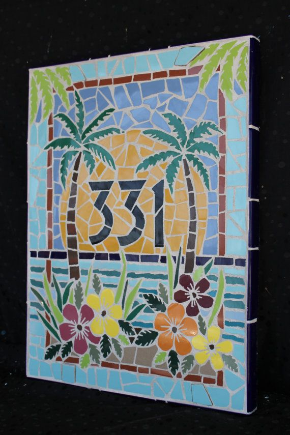 Mosaic Palm Tree Mosaic House Numbers Mosaic By