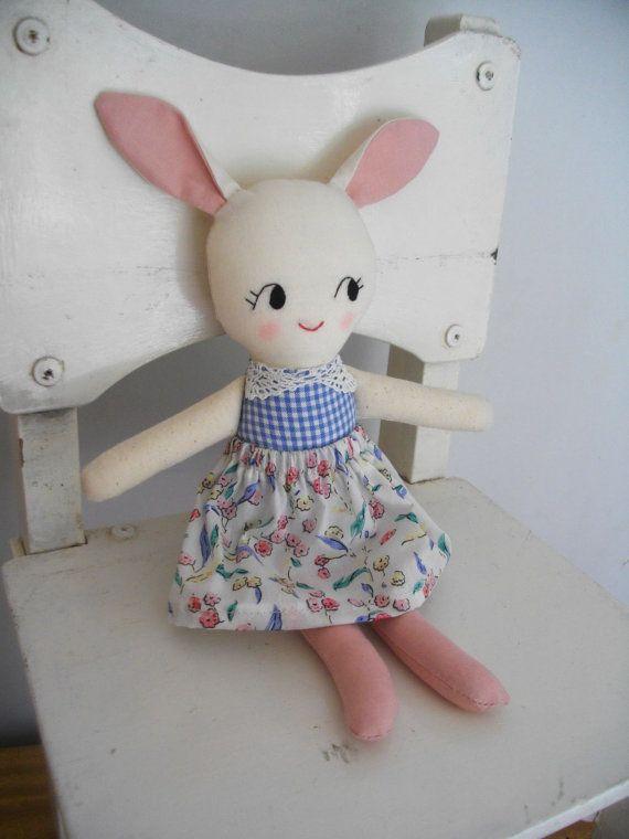 SWEET BUNNY RAGDOLL -  Handmade cloth doll rabbit plushie rag doll on Etsy, $38.81