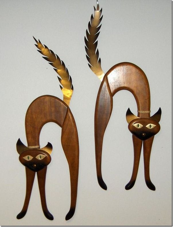 Masketeers Mid Century 1964 Teak Brass Wall Cat Hangings: Meow Purr Kitty Cat, Wall Cat, Cat A Logs, Cat Hangings Would, Feli Catus Rawr, Cat Hanging Would