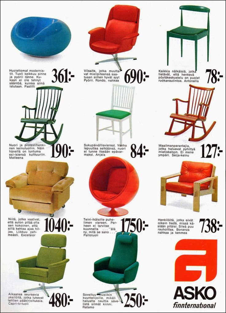 Lounge chairs by Asko, including Ball Chair and Pastilli by Eero Aarnio, Rondo and Ratamo by Olli Borg. Advert from 1969.