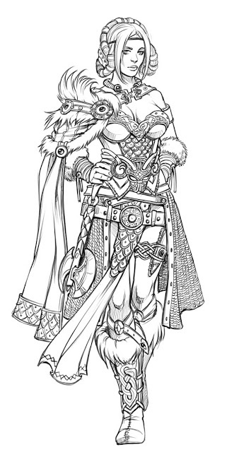 Vikings/fantasy/ RPG  Not period, but I love the cloak and hair ideas