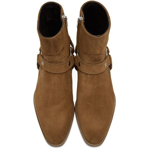 Saint Laurent Tan Suede Wyatt Harness Boots (€1.005) ❤ liked on Polyvore featuring men's fashion, men's shoes, men's boots, yves saint laurent mens shoes, mens harness boots, mens tan boots, mens suede cowboy boots and mens zip boots