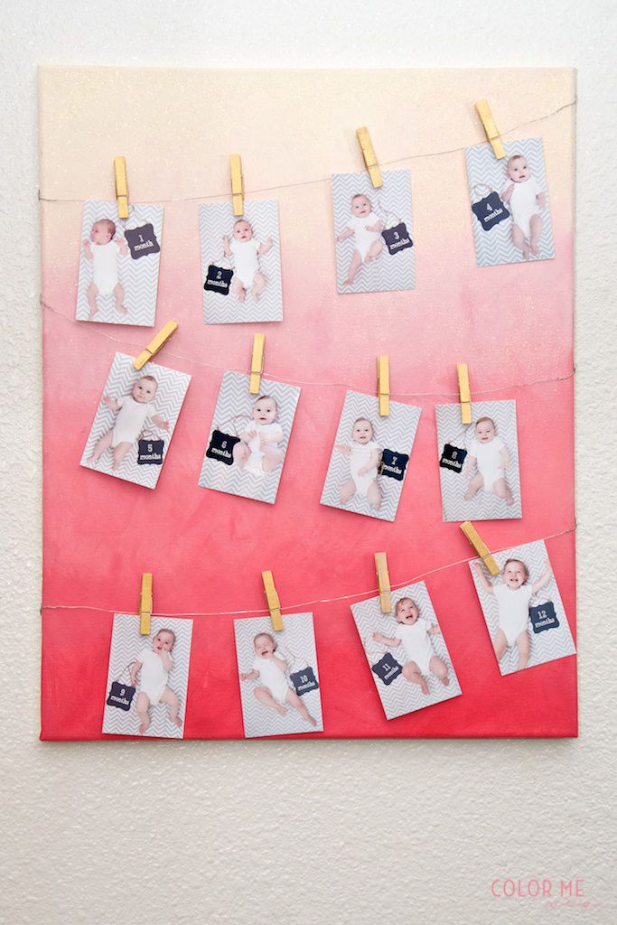 document the baby months | ombre clothesline print holder
