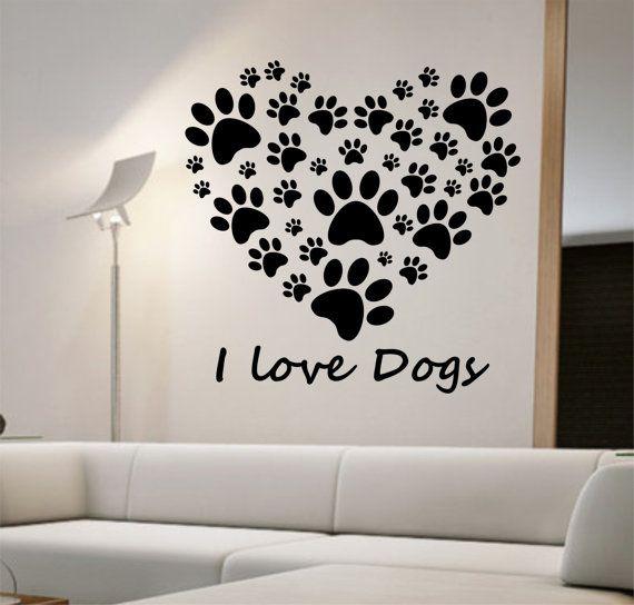 I Love Dogs Heart Wall Decal Sticker Art Decor Bedroom Design Mural art dog lover animals home decor room decor