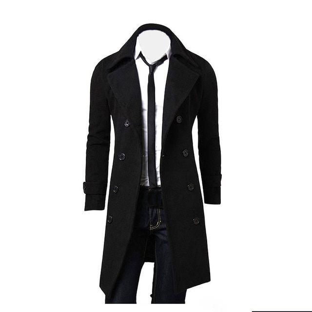 Coat men winter long coat slim stylish trench coat double breasted long jacket parka mens overcoat