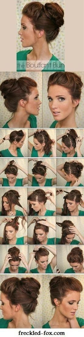 The Bouffant Bun -- wonder if I could fake it like I have enough hair for this?