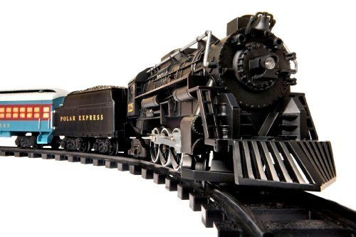 "Polar Express G-Gauge Train Set from Lionel Trains features a finely detailed style that evokes the magnificent steam engines of times gone by and authentic train sounds for a real-life experience. This large-scale, battery-operated train set is based on the Caldecott Award-winning book ""The Polar Express,"" and the movie that followed in 2004."