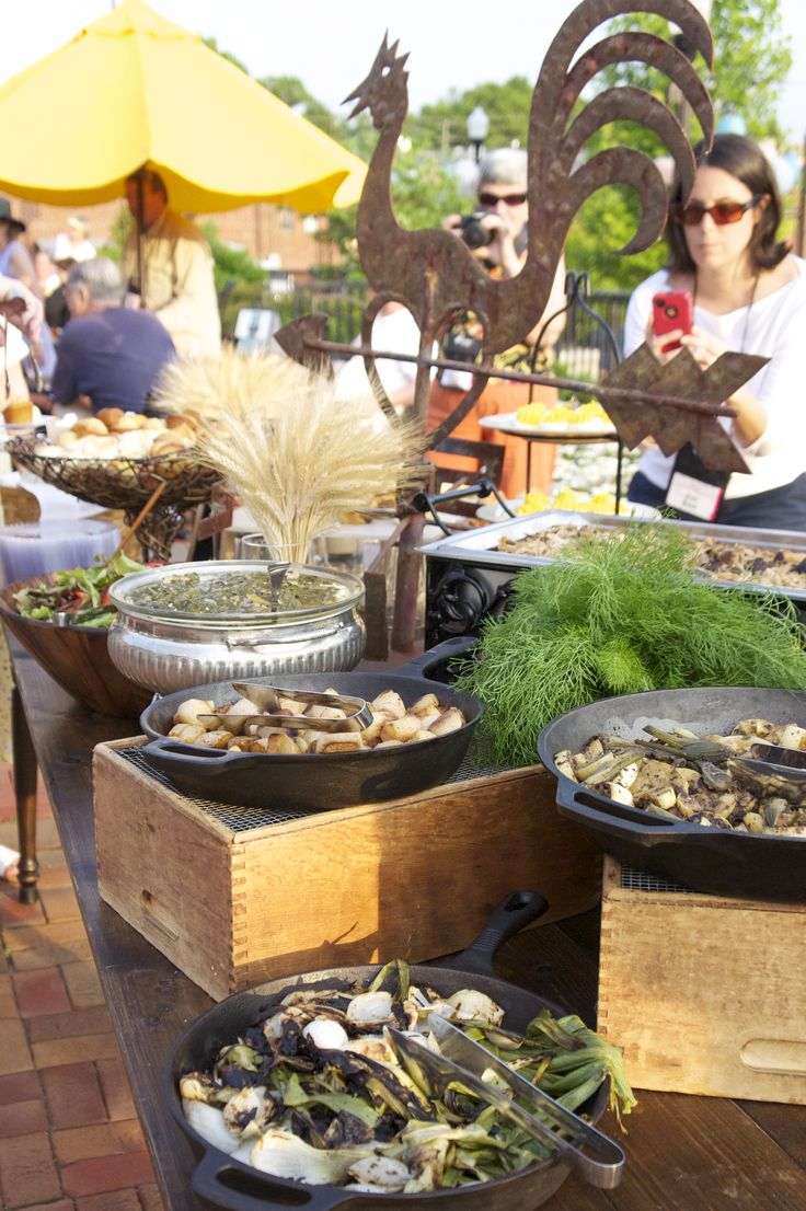 Farm to table buffet with cast iron skillets