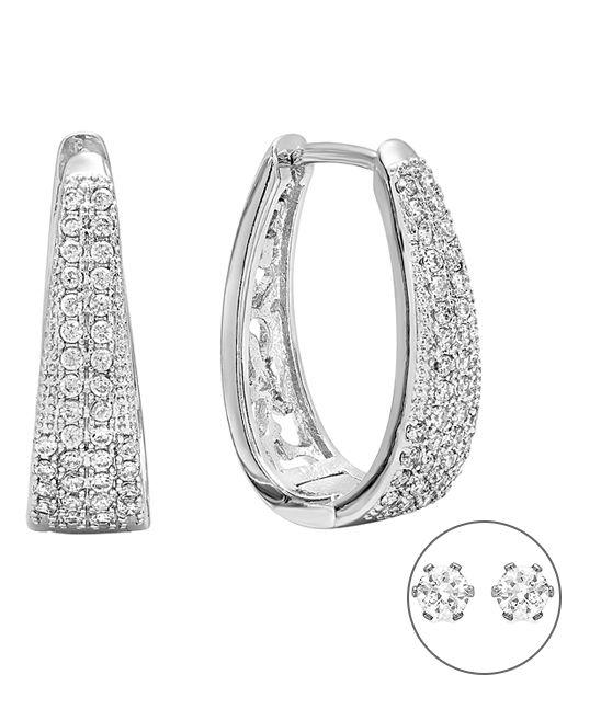 Simulated Diamond & Silvertone Teardrop Hoop Earrings