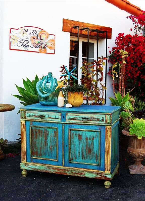 A stunning cabinet finished in a variety of Chalk Paint® decorative paint by Annie Sloan colors such as Aubusson Blue, Duck Egg Blue, Antibes Green, Arles | By Stockist MaK & JiLL of San Clemente, CA