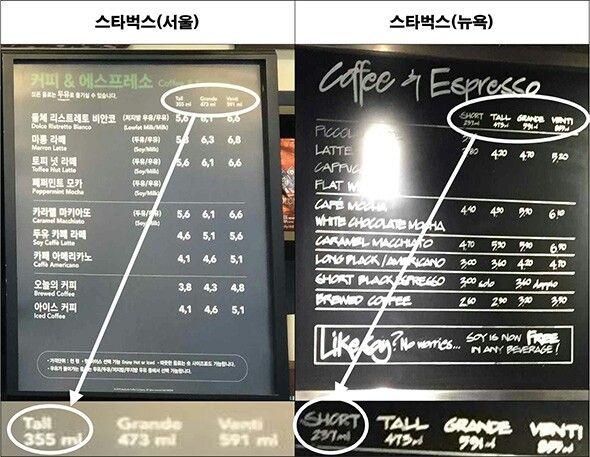 스타벅스 미쿡과 한국차이 Different menu between Kor and usa