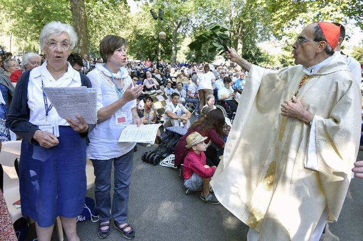 Thousands of Catholic pilgrims offered up prayers for terror-scarred France…