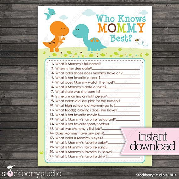 Dinosaur Baby Shower Who Knows Mommy's Best by stockberrystudio                                                                                                                                                                                 More
