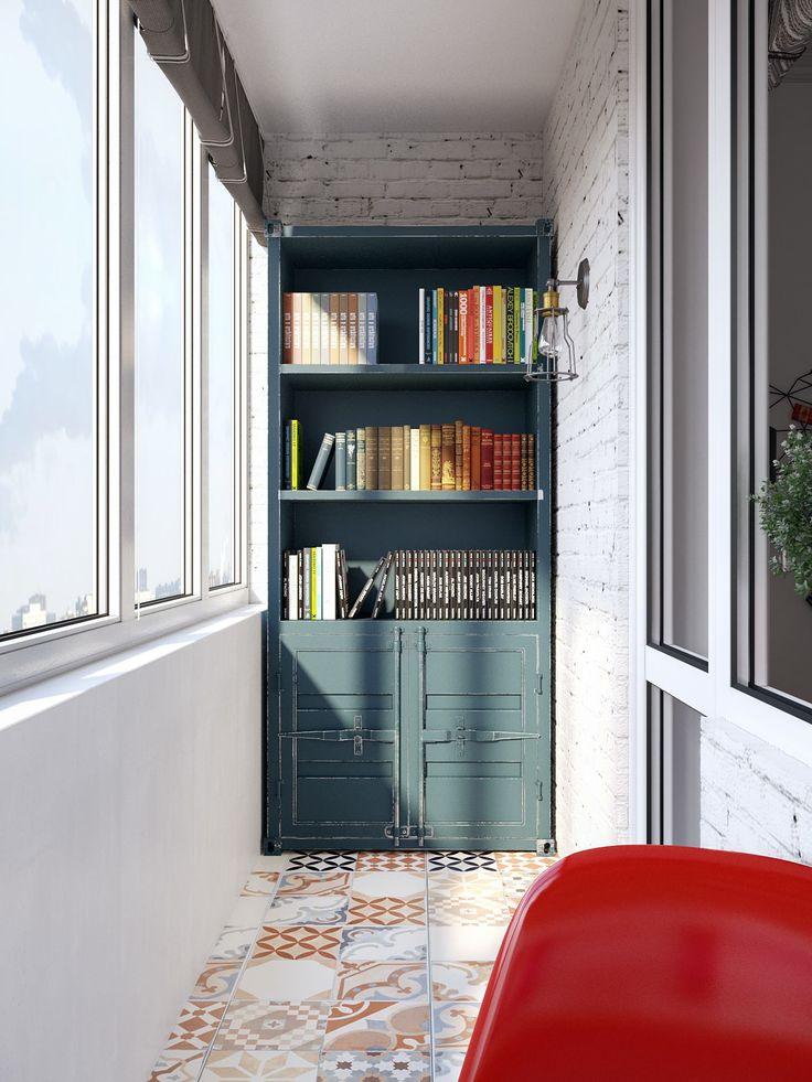 книжный шкаф на лоджии