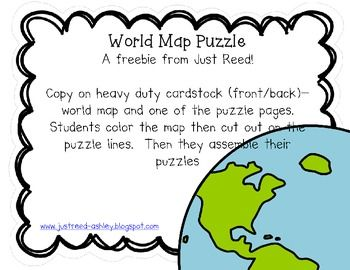 With this packet, students can create their own World Map puzzle. Simply copy the world map front/back with one of the puzzle templates. Students then color the map, turn the paper over, and cut along the puzzle template to create a puzzle. I recommend copying on heavy duty cardstock. Enjoy this freebie, and please follow my blog for teaching tips, ideas, and freebies! www.justreed-ashley.blogspot.com