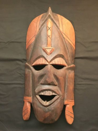 Wood-Carved-Mask-Sculpture-Wall-Decor-Two-Tone-Colour-with-Headgear-M09