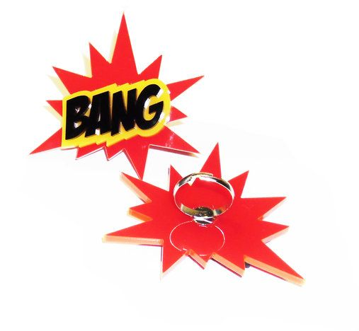 Comic sound effect rings by Dragonfly Dreams for sale on http://hellopretty.co.za
