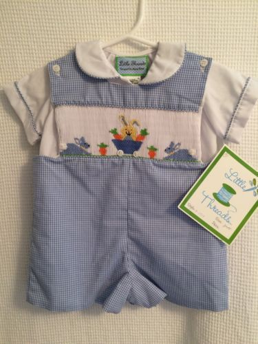 Smocked-Boys-LITTLE-THREADS-Easter-Bunny-Bubble-Romper-SIZE-3M-NWT...